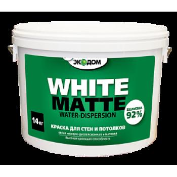 ЭКОДОМ краска для стен и потолков белая водоэмульсионная