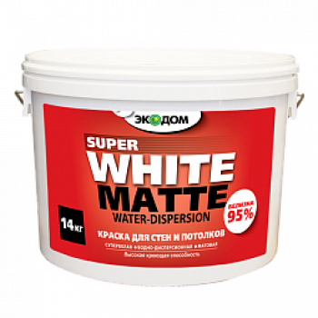 ЭКОДОМ краска для стен и потолков супербелая водоэмульсионная