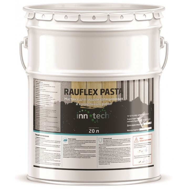 INNOTECH RAUFLEX PASTA гидроизоляционная битумно-полимерная мастика холодного нанесения