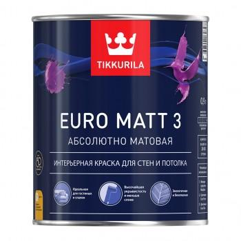 TIKKURILA EURO MATT 3 краска интерьерная для стен и потолка