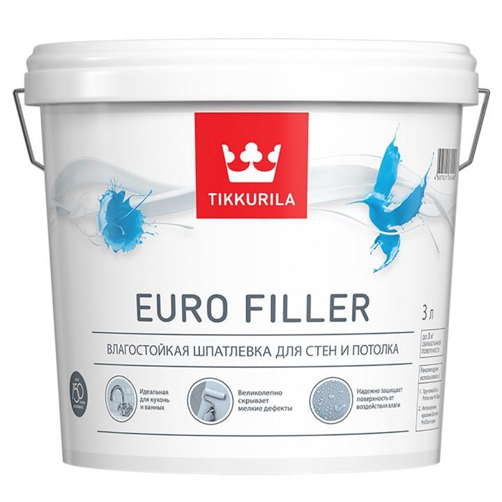 TIKKURILA EURO FILLER шпатлевка влагостойкая для стен и потолков