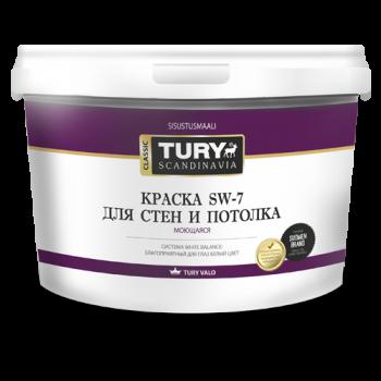 TURY SW-7 краска моющаяся  для стен и потолков супербелая